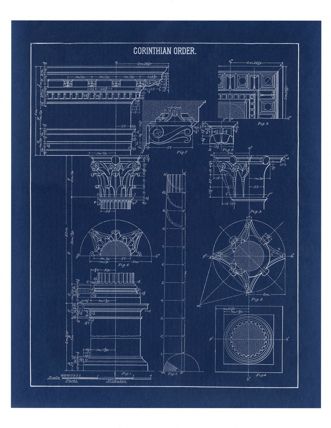 Blueprint Wall Art Corinthian Column Drawing Blueprint Wall