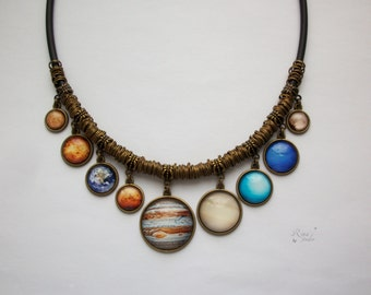 Solar System Necklace, Planet Necklace, Bib Necklace, Space pendants, Universe jewelry, Galaxy necklace, Solar System nec jewellery