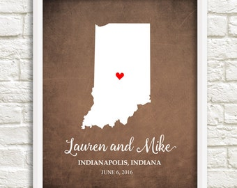 Indiana Couple's State Map Indiana State Art Valentine's Gift, Wedding print, Anniversary Gift, Bridal Shower Gift,Housewarming Gift