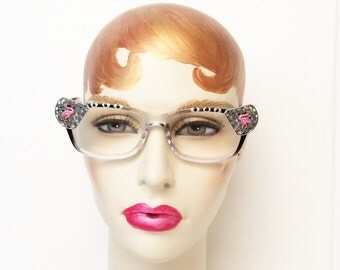 Reading Glasses with Pink Flamingos +3.50, Vintage style frame