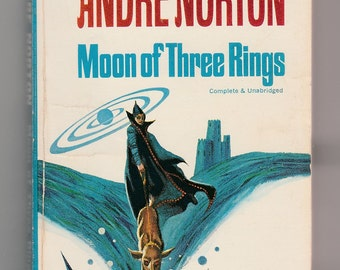 Andre Norton-Moon Of Three Rings-Vintage 1966 Classic Ace Science Fiction Paperback Book Gaughan Cover Art Galactic Trade Ship Spaceship