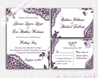 Lace Wedding Invitation, Printed Plum Lace Wedding Invite, Violet Wedding  Invitation, Invite,
