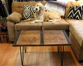 Reclaimed Wood Coffee Table With Inlaid Metal Strips, Wood Coffee Table,  Rustic Coffee Table