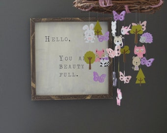 Girly Woodland Forest Animal Paper Mobile Chandelier