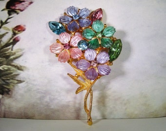 1960s, Flower Brooch, Flower Pin, Pastel Flower Brooch, Bouquet Brooch, Large Colorful Flower Bouquet, Gold Tone Brooch,Vintage Brooch – Pin
