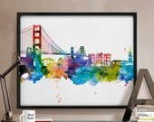 San Francisco print, San Francisco skyline, San Francisco, Watercolor poster, Art print, California, Wall art, Home Decor, iPrintPoster