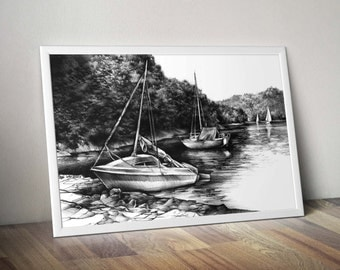 moored yachts PRINT by Katarzyna Kmiecik /landscape print, charcoal drawing, charcoal artwork, yacht sketch print, sailing big art print