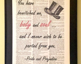 Pride and Prejudice Page Art; You have bewitched me; Mr. Darcy