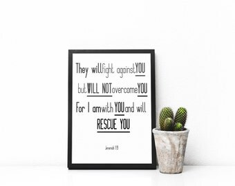 They Will Fight Against You- Jeremiah 1:19; Wall Art