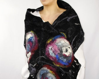 Universe and beyond/ Multicolor scarf / Handmade felted scarf / Merino wool and silk