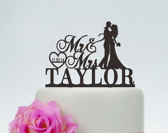 wedding cake toppermr and mrs cake topper with surnameheart toppercustom cake topperpersonalized cake topperdate cake topper c118