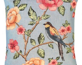 Bird Decor Pillow Cover - Floral Decor Pillow Case - Blue Decorative Pillow - 18x18 Belgian Tapestry Cushion Cover - PC-5527