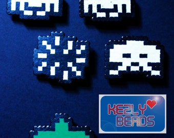Set of 5 Hama Bead Space Invaders Magnets