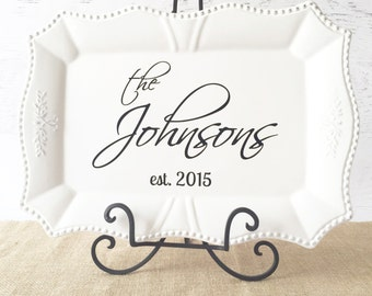 """Personalized Platter - Personalized Wedding Platter - Personalized Anniversary Gift - Personalized Bridal Shower Gift - 18"""" White Scalloped"""