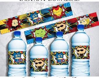 50% OFF SALE Avengers Water Bottle Labels, Superheroes Super Heroes Superhero Super Hero, Instant Download, Pdf jpg