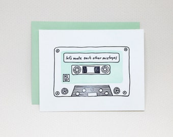 Letterpress Love Card: Let's Make Each Other Mixtapes // mixtape card, valentine's day card, hipster card, music lover card, love card
