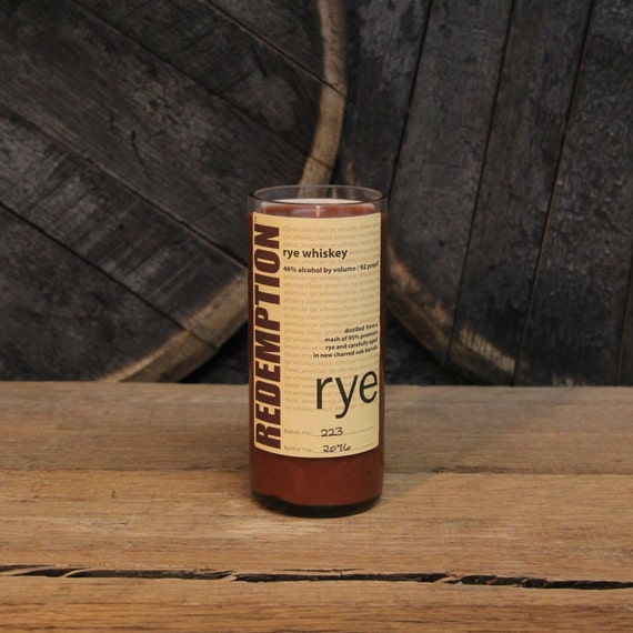 Upcycled Redemption Rye Whiskey Candle - Recycled Bourbon Bottle Candle Handmade Soy Candle 750ml Recycled Glass Bottle 18oz Soy Wax