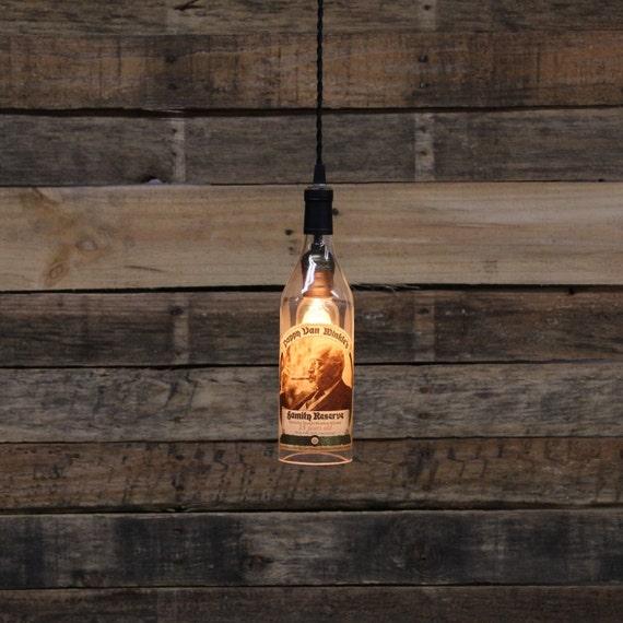 Pappy Van Winkle (15 Year) Bottle Pendant Light - Upcycled Industrial Glass Ceiling Light - Handmade Bourbon Bottle Light Fixture, Recycled