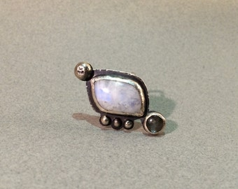 Rainbow moonstone with labradorite sterling silver ring