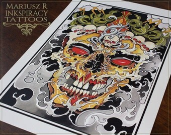 "Tattoo Print - ""Oriental Skull"" by Mariusz Romanowicz / art print,dark art,dark,gothic art,skull art,horror art"