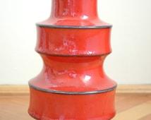 West German Scheurich Vase, Mid Century Pottery, Pop Art Vase, Vintage Red Vase, Red Scheurich Vase, Pagoda Tower Vase Shape 267 - 25