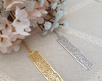 Simple Long Tree Bar Pendant Necklace, Gold and Silver, Rhodium or Gold Plated Chains