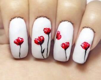 Poppies Freehand Nail Art. Handmade Fake Nails, False Nails, Press On Nails, Micropainting On Nails
