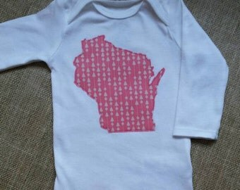 Baby Girl Wisconsin Onesie-Custom State Pride Onesie-WI Baby Girl Gift-Wisconsin Baby Gift-New Baby Girl-WI Baby Girl Shower Gift-