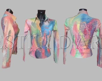 HAND PAINTED BLOUSE womens tops festival clothing womens clothing for mens shirts mens tshirts plus size tops, womens tops, womens boho tops