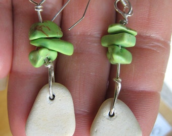 Sea Pottery Shard/Green Turquoise Earrings/Sterling Silver/Dangly/Wire Wrapped/Surf Tumbled Maine/Beach
