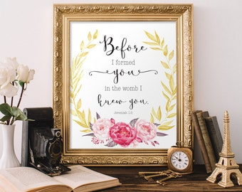Nursery Printable, Before I formed you in the womb I knew you, Scripture Print, Jeremiah 1:5, Girl Room, Christian Nursery, Pink Nursery
