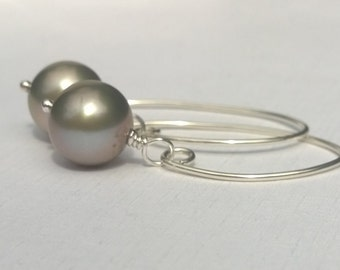 Pearl and Sterling Silver Earrings, Long, Dangle, Wire Wrap, Sage Green, Pink, Large Freshwater Pearl