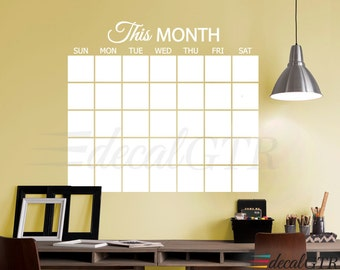 Dry Erase Wall Calendar Decal with Square Boxes - Adhesive White Board Month Wall Calendar Sticker - Erasable Monthly Planner Vinyl - D046