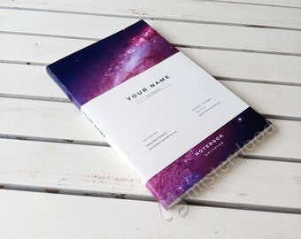 CUSTOM TITLE Journal, Purple Universe Notebook, Minimalist Design, Mysterious Galaxy Stationery Paper Goods, Milky Way Galaxies Earth Space