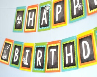 Large Mad Science Party Happy Birthday Banner Decoration | Cardstock and String | Kids Birthday, Scientist, Chemist, Teacher, Engineer