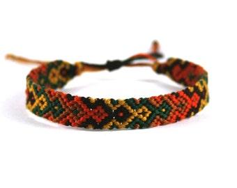 Brown, Yellow, Green, Light Brown and Orange Friendship Bracelet