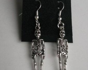 Skeleton earrings, skull earrings, skeleton jewellery, halloween jewellery, halloween earrings, dangle earrings, drop earrings