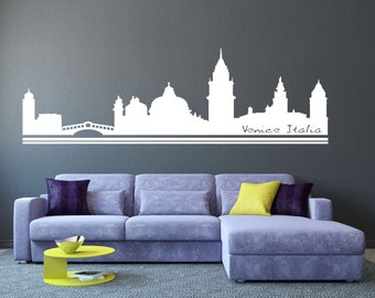 Venice Italy City Skyline Silhouette - Wall Vinyl Stickers