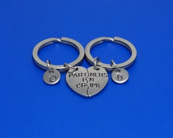 Partners in Crime, Matching Keychain, Best Friends Keychain, Best Friends Gift, BFF Keychain, Friendship Keychain, Couple Gift, Personalised