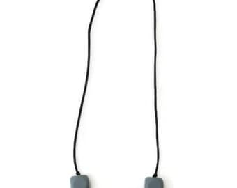 Child silicone collar / sensory necklace - grey and black