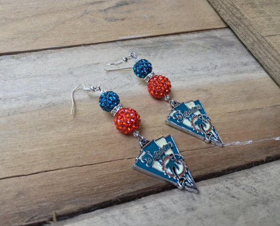 miami dolphins earrings gameday jewelry turquoise orange