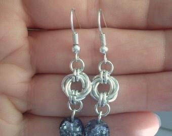 Chainmaille Earrings, Glass Beads Earrings, Dark Grey Blue Beads Earrings