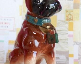 Vintage Ceramic Boxer Dog Bank with Green Collar