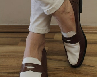 Vintage Loafer Shoes PEPE CATALA new brown white