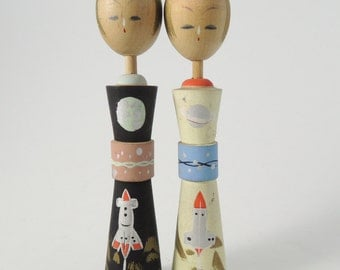 Vintage kokeshi doll, set of 2, Planets and Rockets, RefA