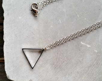Vintage Silver Geometric Triangle Pendant Necklace – Rustic Modern Necklace - Men's + Women's Geometric Jewelry by Idle King