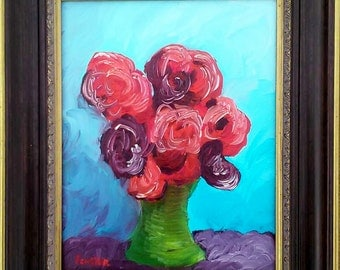 "Original Oil - For the Woman with the Scarlet Bow, Framed, 8 x10"" Canvas"