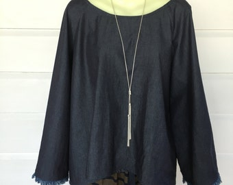 Dark denim swing top.
