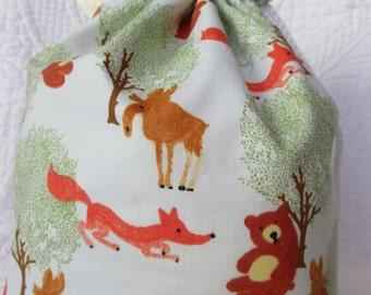 Sweet moose, bear and fox drawstring knitting project bag