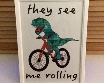 Boys framed dinosaur print for bedroom/playroom/gift